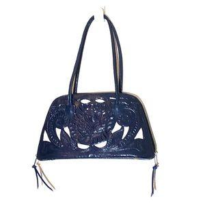 Leather Tooled Midnight Blue Handbag